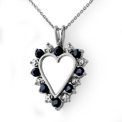 Genuine 1.10 ctw Sapphire & Diamond Pendant White Gold