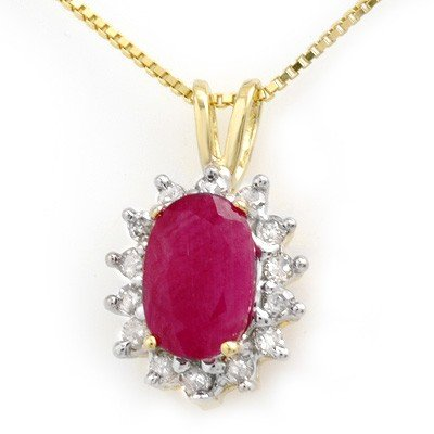 Genuine 1.90 ctw Ruby & Diamond Pendant Yellow Gold