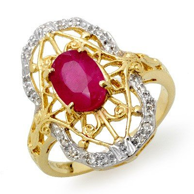 Genuine 2.12 ctw Ruby & Diamond Ring 14K Yellow Gold