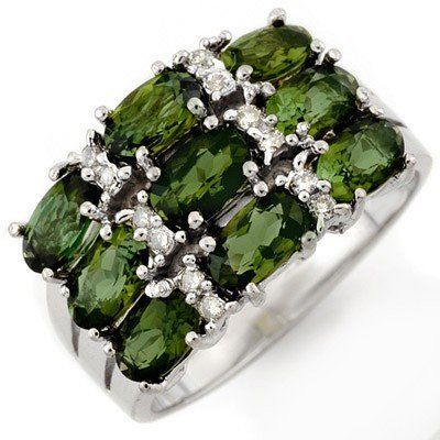 Genuine 3.15ct Green Tourmaline & Diamond Ring 10K Gold