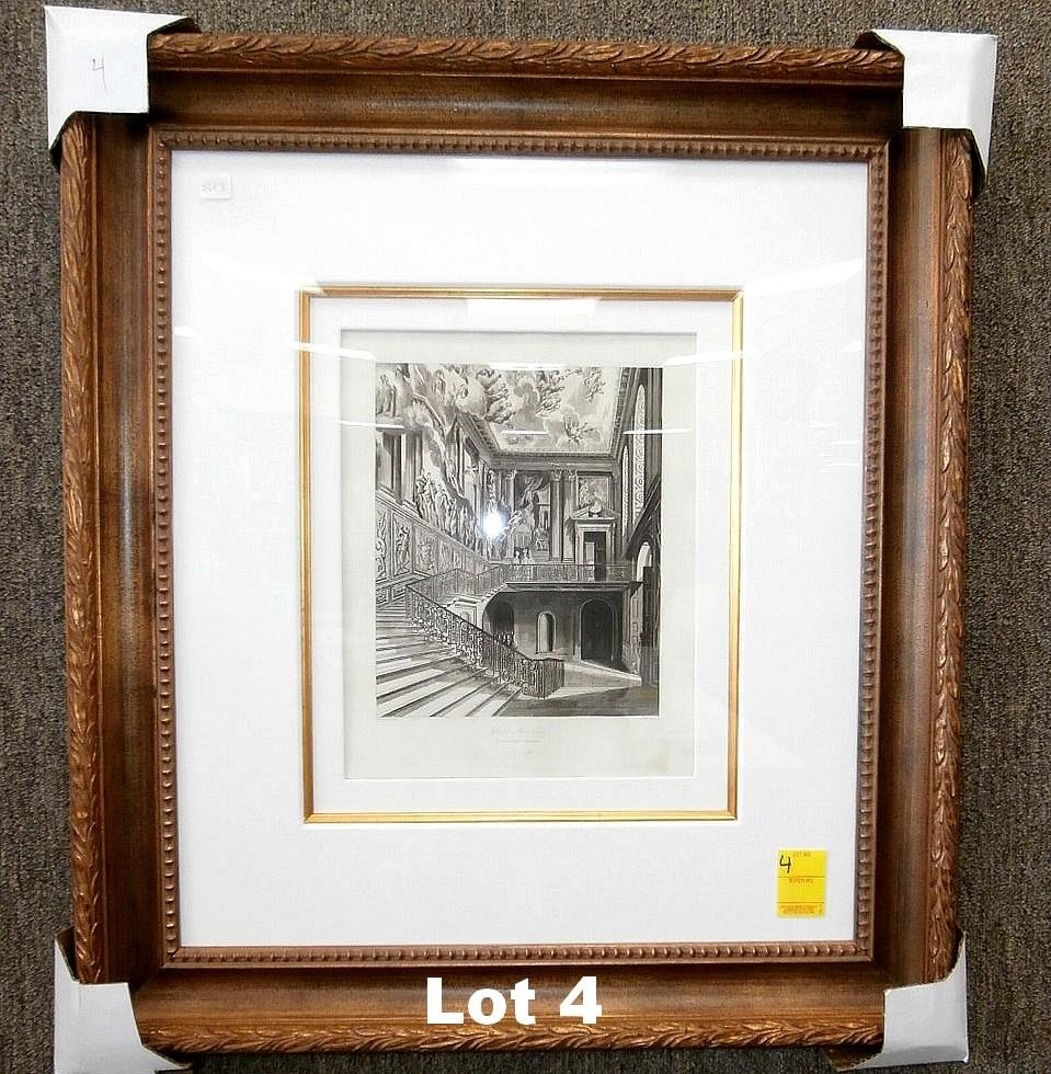 """Original Etching """"The Grand Staircase"""" by Havell"""