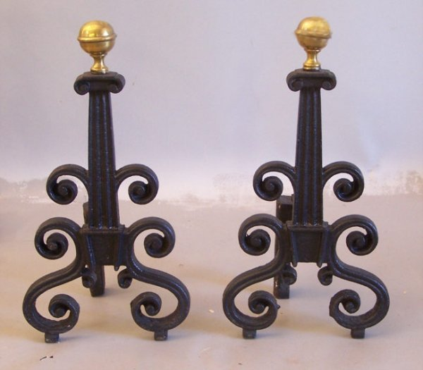 14: American Federal cast iron andirons