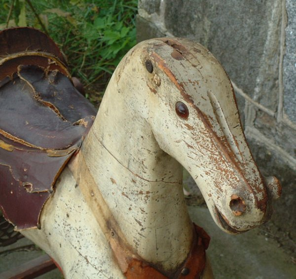 78: Antique wooden hobby horse with painted base - 4