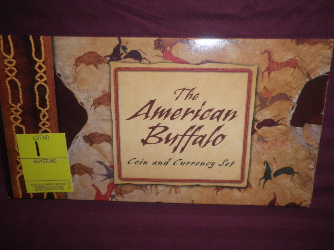 1: American Buffalo coin, currency, stamp set