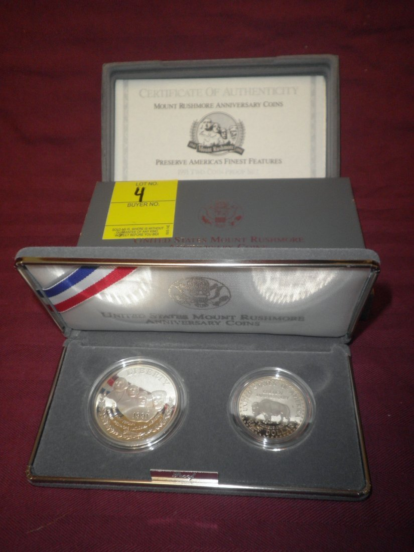 4: US Mount Rushmore 1991 2 Coin Proofs