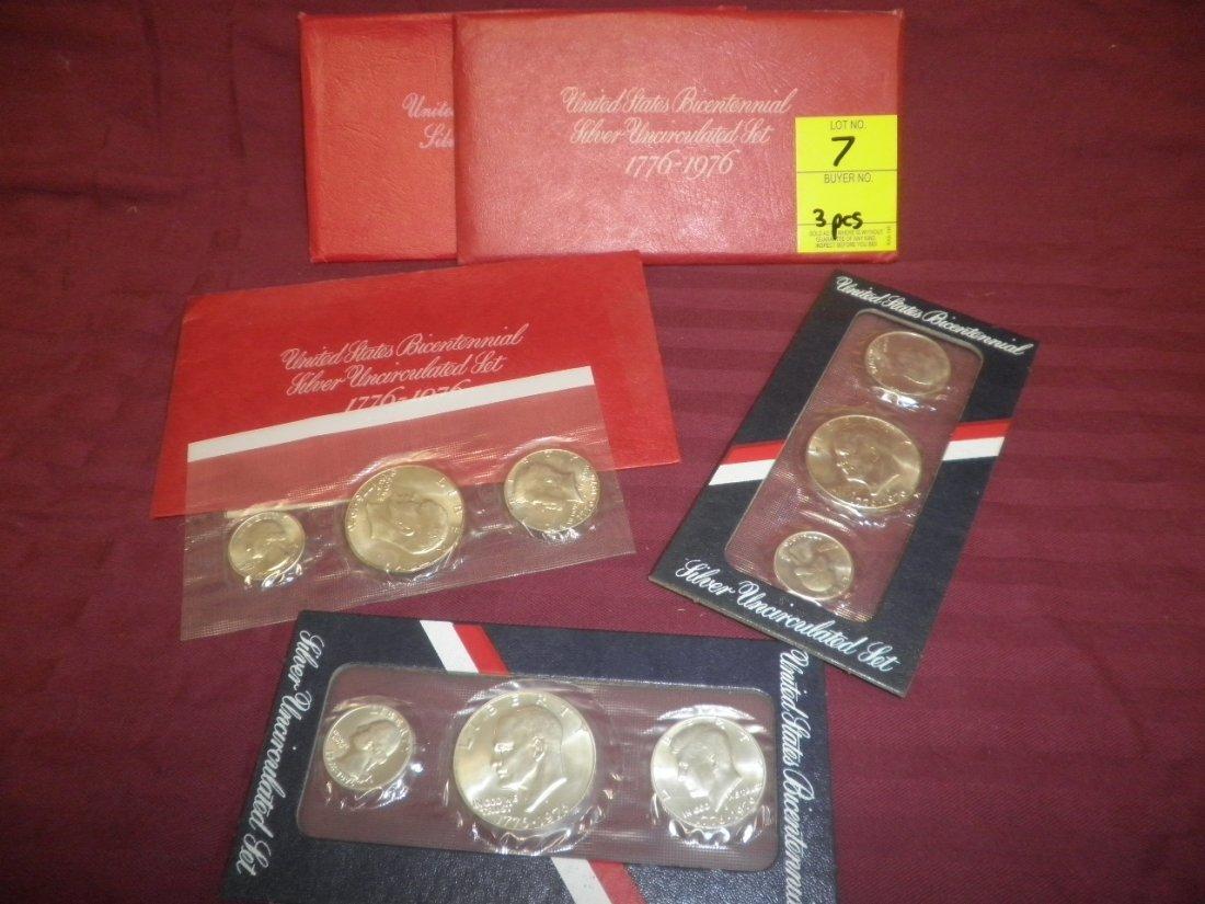 7: 3 US Proof Sets c1976 Bicentennial sets