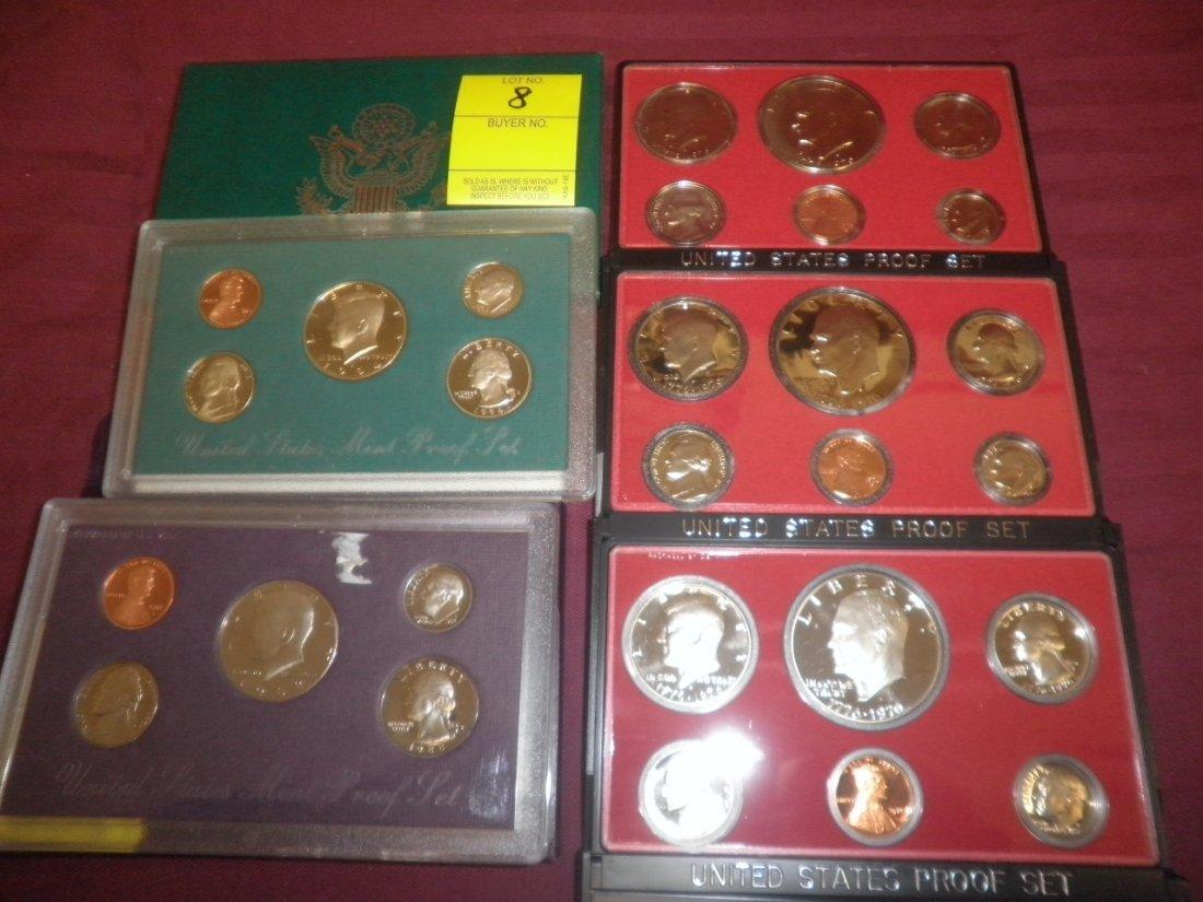 8: 5 US Mint Proof sets
