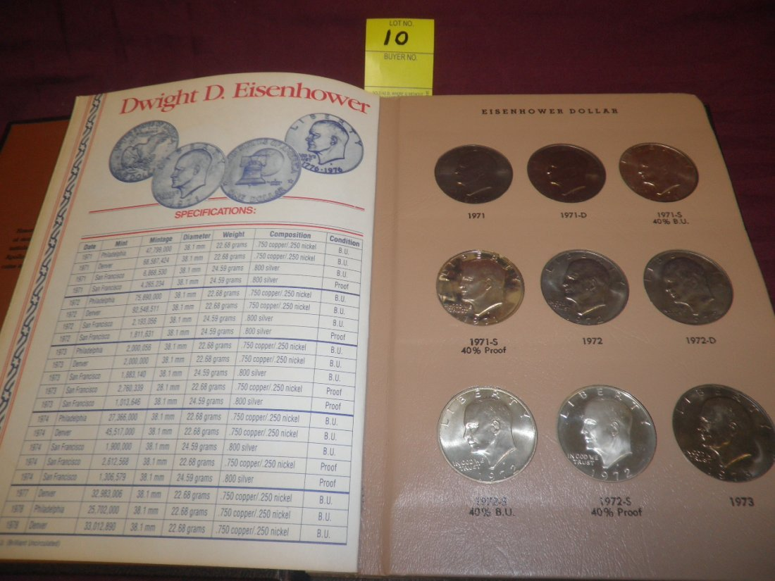 10: Book Set of 32 Eisenhower Proof and Mint Dollars