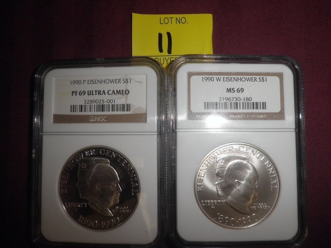 11: 2 1990 Eisenhower Dollars PF69 Ultra Cameo, MS69
