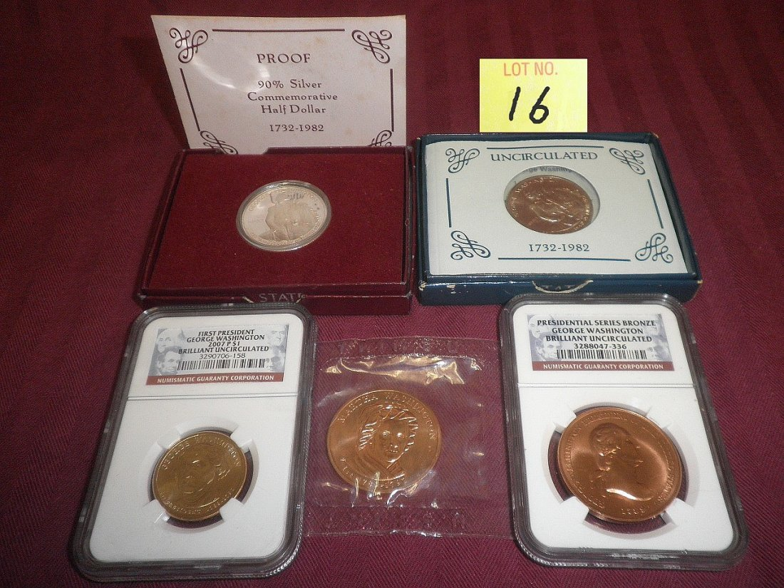 16: 5 Commemorative Coins George & Martha Washington