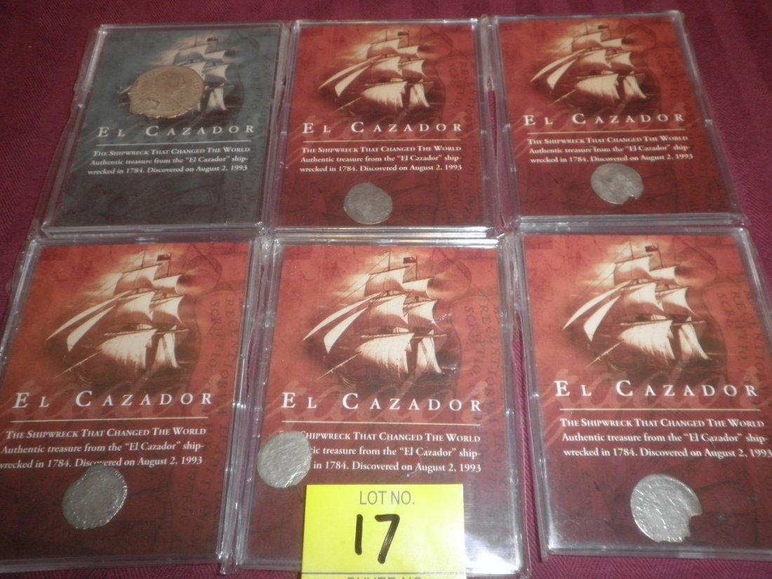 17: 6 Coins from Shipwreck El Cazador with COA