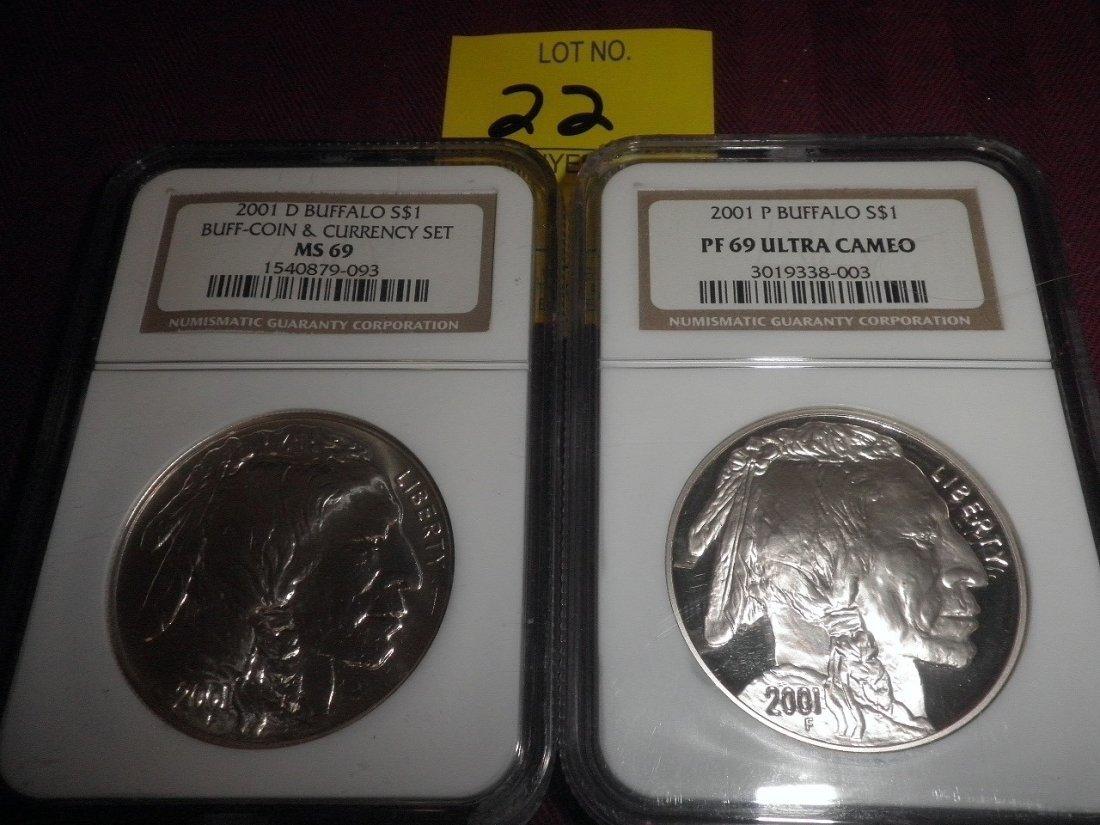 22: 2001 Buffalo 1 Dollar Coins - PF 69, MS 69