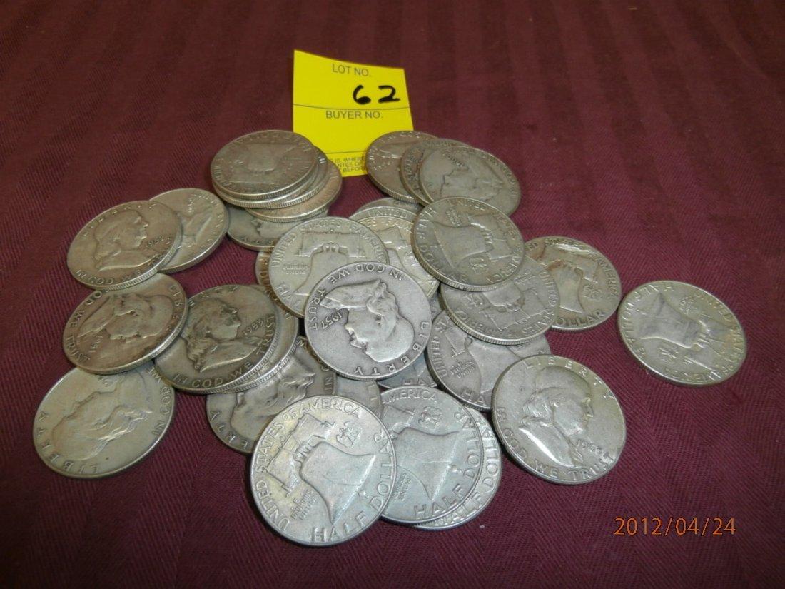 62: Franklin Silver Half Dollars - $16.00 face value