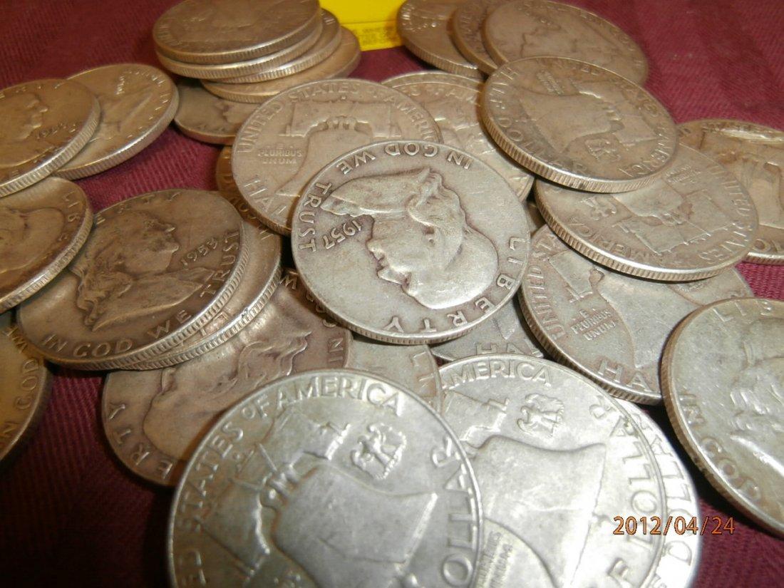 62: Franklin Silver Half Dollars - $16.00 face value - 2