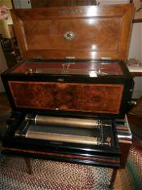 "113: Burlwood inlaid 18 1/2"" Cylinder Music Box"