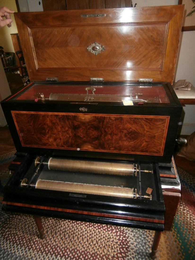 "113: Burlwood inlaid 18 1/2"" Cylinder Music Box"
