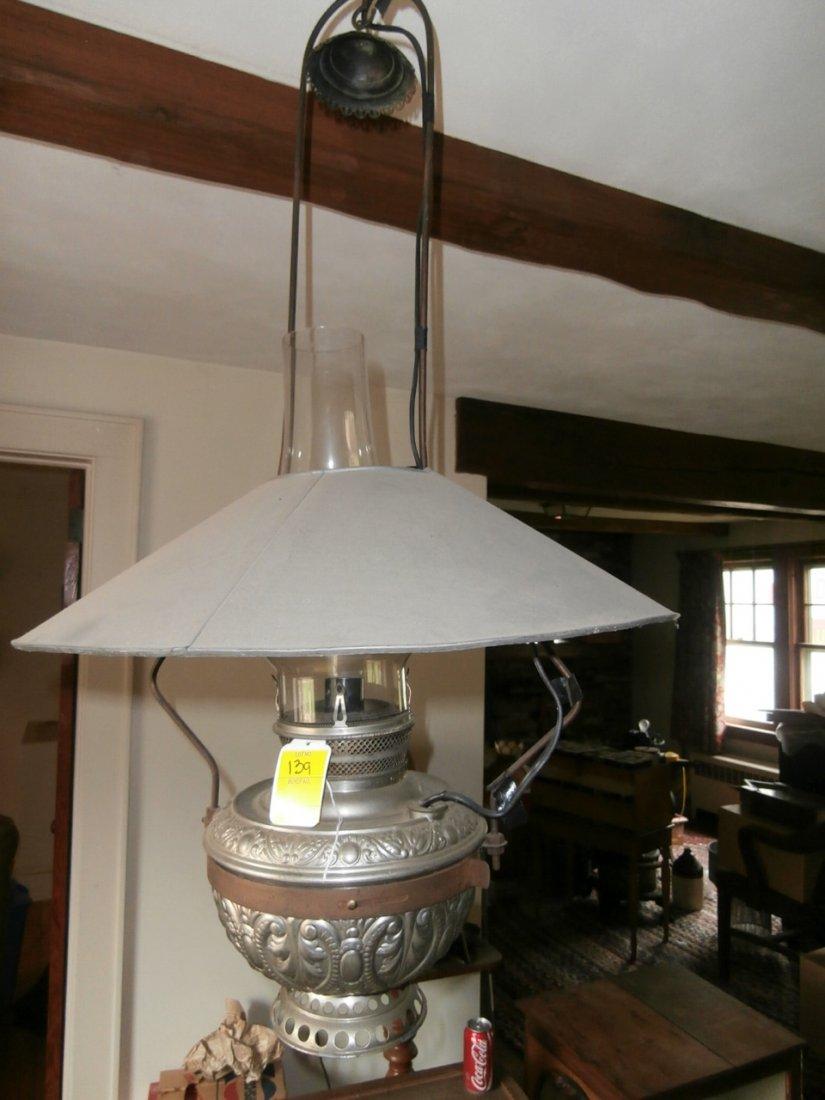 139: Hanging Nickel Plated Lamp w/Tin Shade