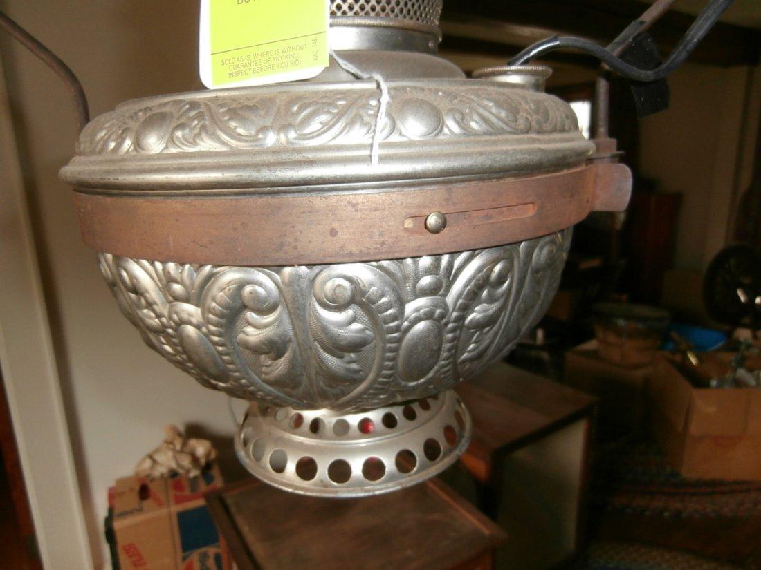 139: Hanging Nickel Plated Lamp w/Tin Shade - 2