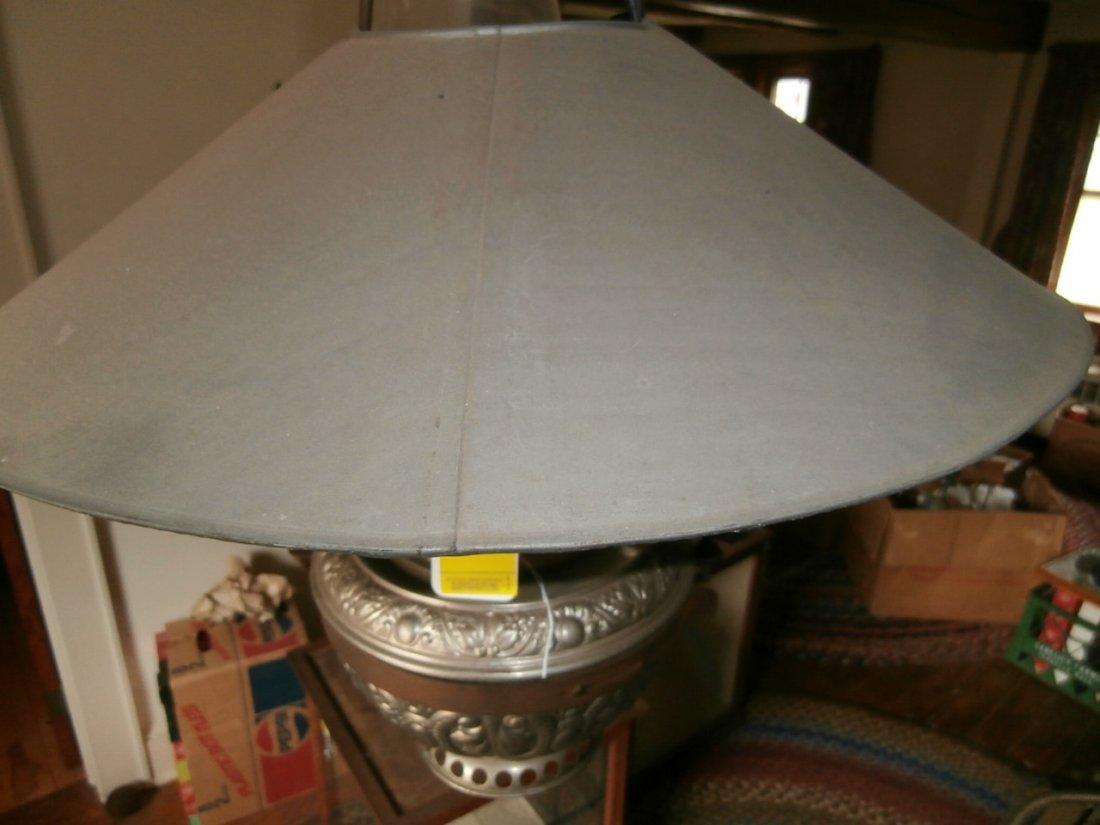 139: Hanging Nickel Plated Lamp w/Tin Shade - 3