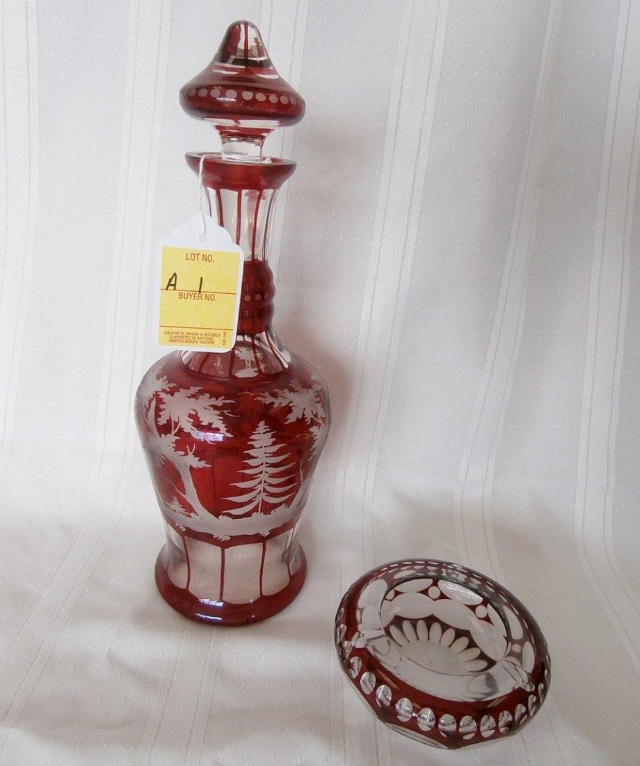 Bohemian Ruby Glass Decanter & Ashtray