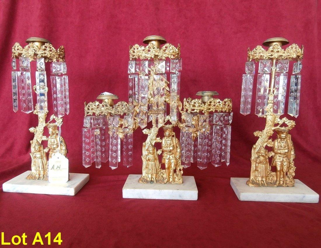 Three Piece Set Figural Bronze Candelabra