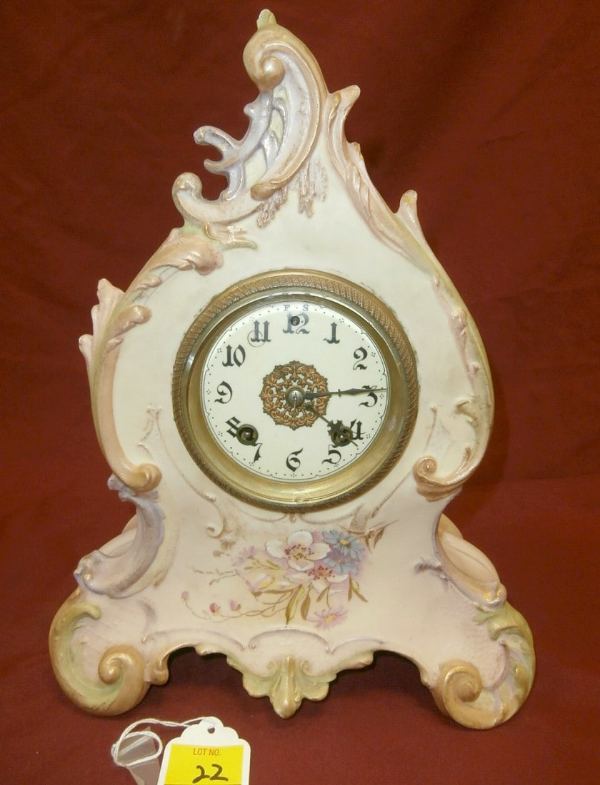"Floral China Clock 13 1/2"" Tall"