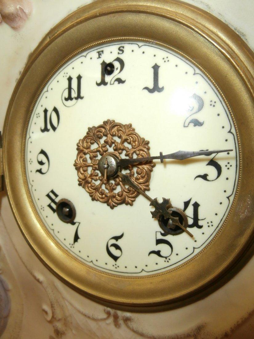 "Floral China Clock 13 1/2"" Tall - 2"