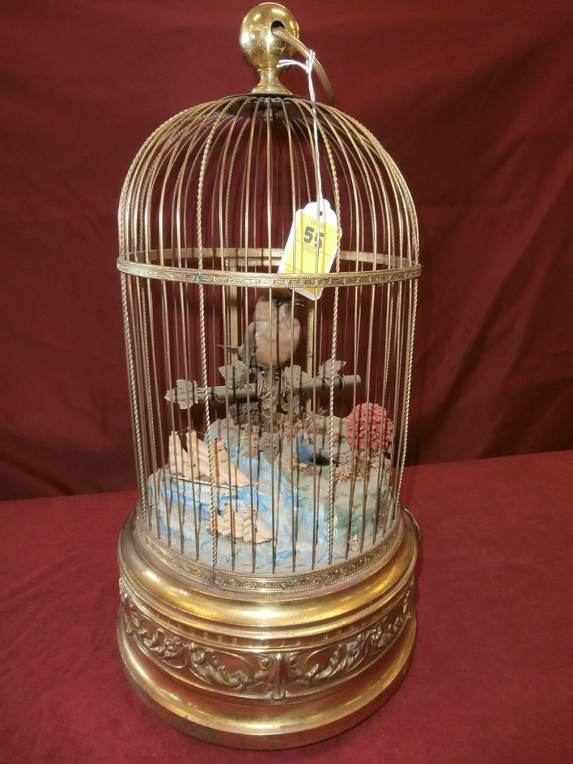 Large Helvetic Bird Cage Music Box  W/ Tall Ships