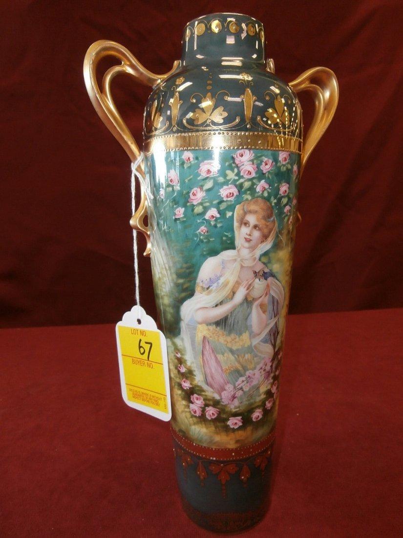 "Prov. Saxe E.S Germany Portrait Scenic Vase 11"""