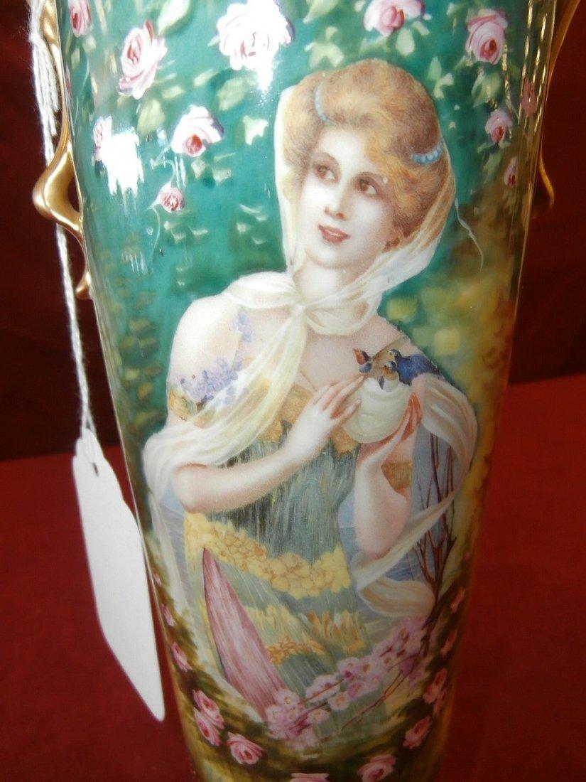 "Prov. Saxe E.S Germany Portrait Scenic Vase 11"" - 3"