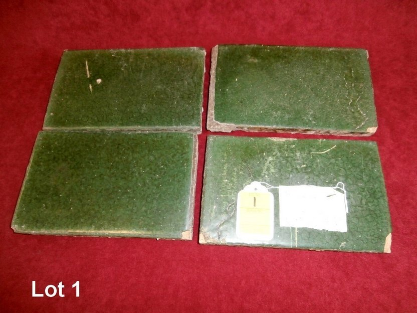 Set of 4 Green Grubey Signed Rectangle Tiles