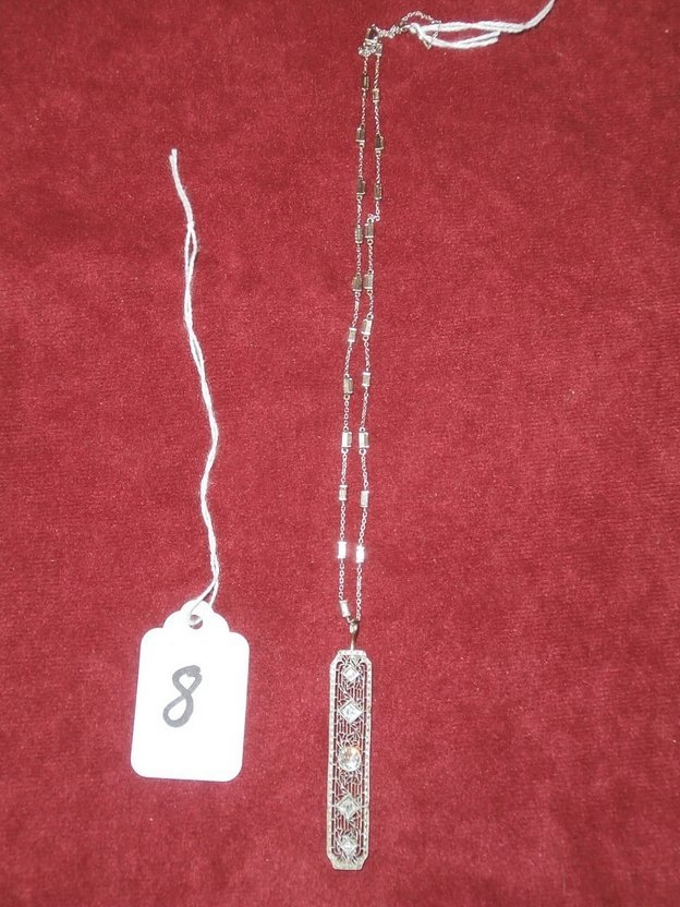 14Kt Gold Diamond Necklace & Pendent Approx 2 CTW