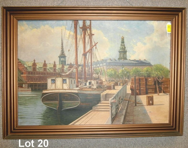 Oil on Canvas Harbor Tall Ship Artist Signed