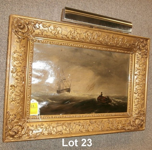 19thC Oil on Canvas Tall Ship and Row Boat