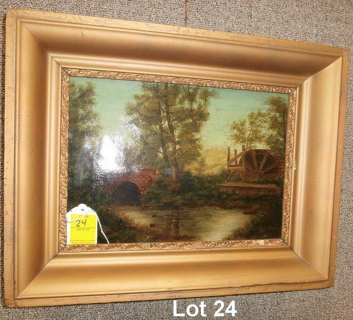 19thC Oil on Canvas Bridge and Water Wheel