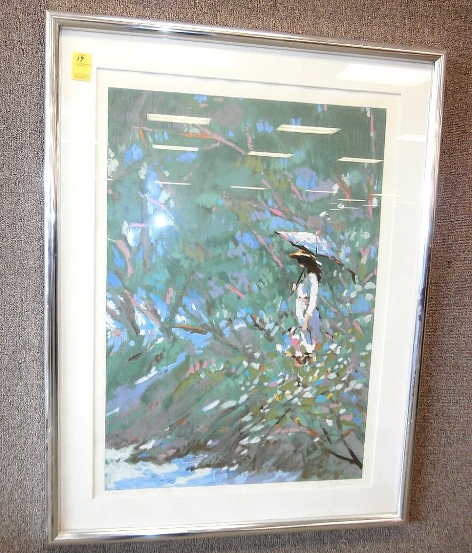 Signed 307/325 Lithograph of Women in Garden