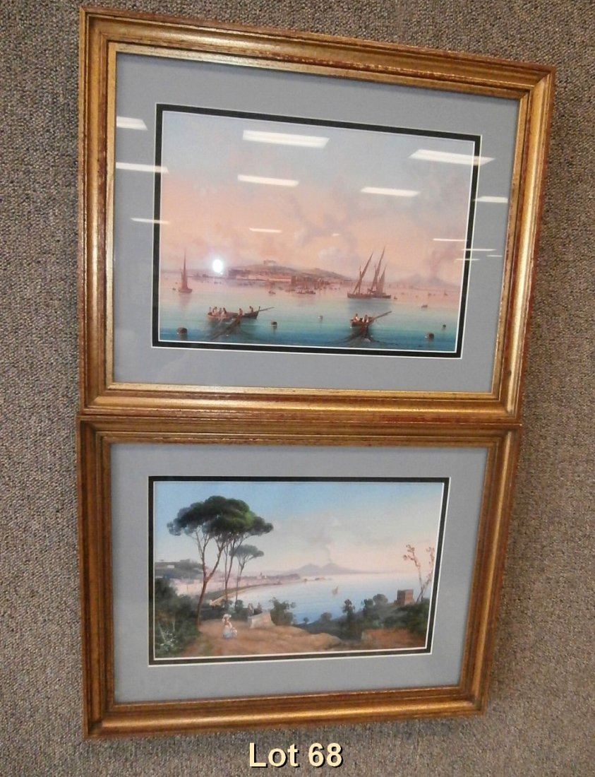 Pair of Gouache Neapolitan Bay of Naples Vesuvius