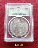 1892 Morgan Dollar PCGS MS 63