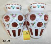 Pair Of Moser Cut To Ruby Hand Painted Vases