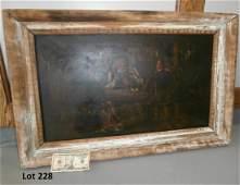 18Th C Old Master Tavern Scene On Wood Panel