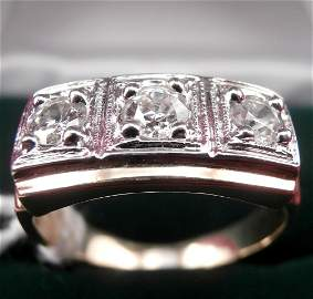 14K Gold Men's 3 Diamond Ring Old Mine Cut .80cts
