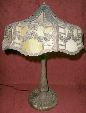 Green 8 Panel Lamp With Ornate Floral Base