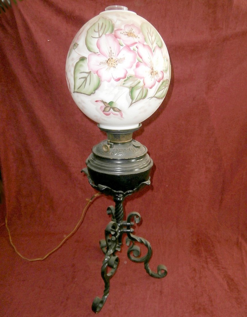 B&H Wrought Iron Base Gone With The Wind Lamp