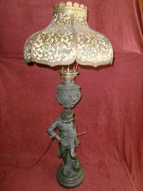 Lulli Enfant Violinist B&h Brass Shade Lamp