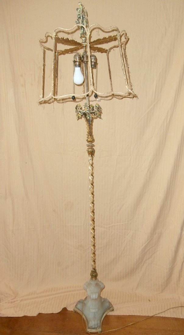 Carved Marble-Footed French Floral Floor Lamp