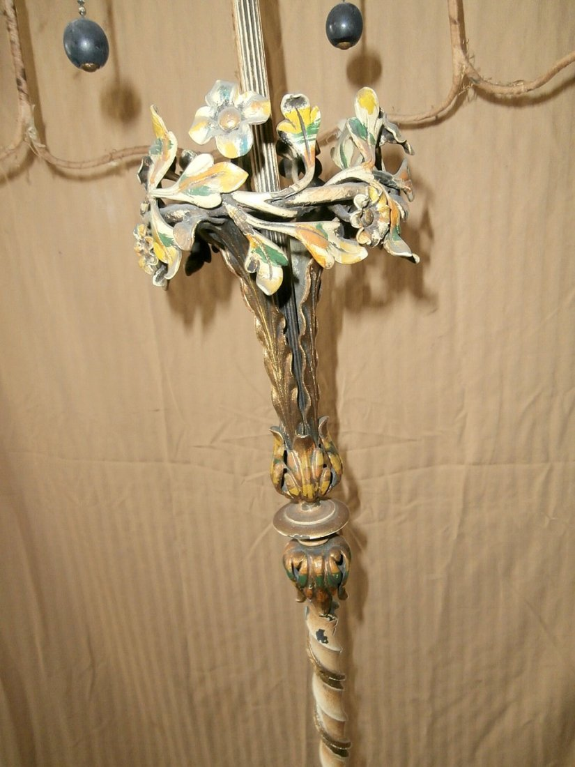 Carved Marble-Footed French Floral Floor Lamp - 3