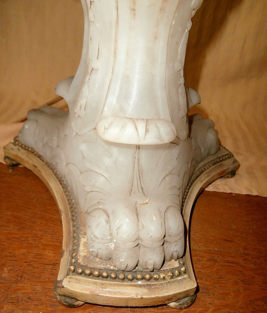 Carved Marble-Footed French Floral Floor Lamp - 6