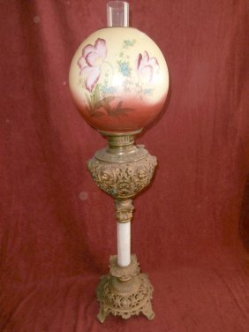 Banquet Lamp With Heads And Floral Ball Shade