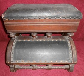 Victorian Bed Step Stool W/original Upholstery