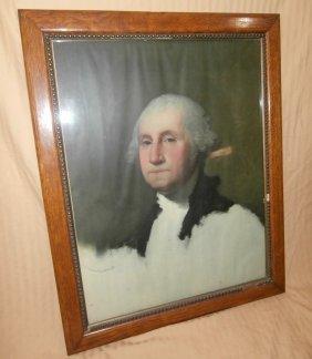 Early Print Of George Washington In Oak Frame